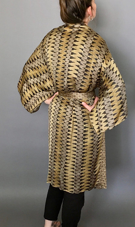 Mix Match Sweet Floral Block Printed Silk Kimono Robe