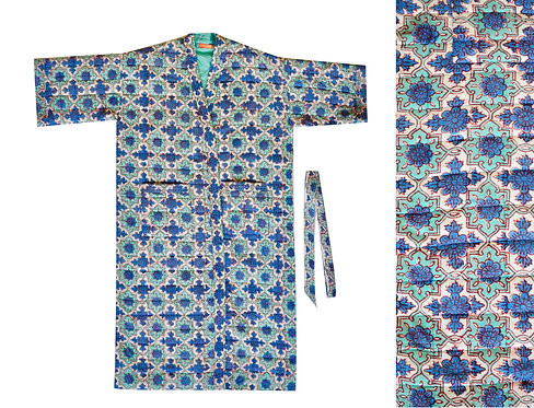 Cotton Block Printed Quilted Dressing Gown -Blue