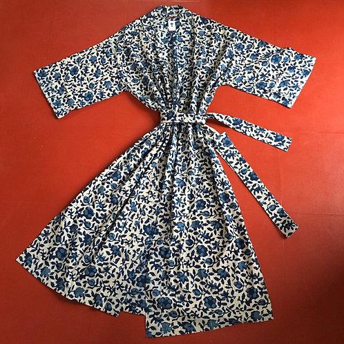 Cotton Kimono Dressing Gown - Indigo