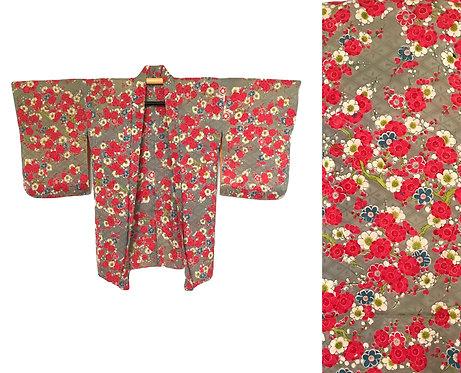 Vintage Cherry Blossom Silk Haori Kimono