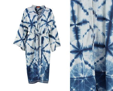 Indigo Ombre Dyed Cotton Kimono Robe