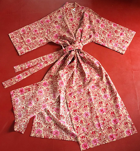 Super soft cotton kimono dressing gown - Pink floral