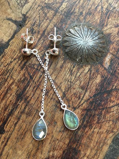 Labradorite Silver Chain Drop Earrings