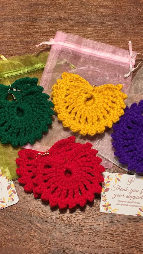 #CrochetFanEarrings - $10 (small)