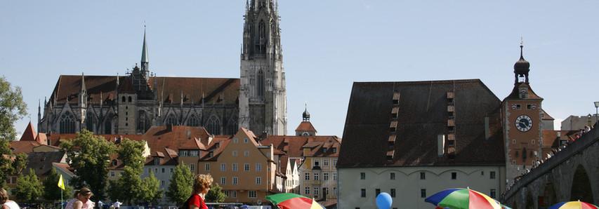 Zwischendurch ein Picknick an der Donau mit wundervollem Blick auf Regensburg