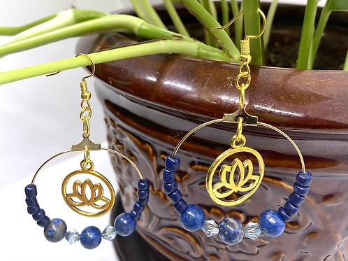 Sodalite Lotus Hoop Earrings