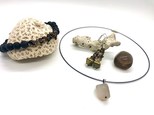 """Vibrate Higher"" Smokey Quartz Set"
