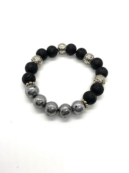 Pyrite & Lava Stone Bracelet
