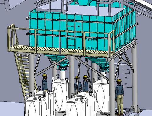 Hopper wagon discharging and big-bag filling system