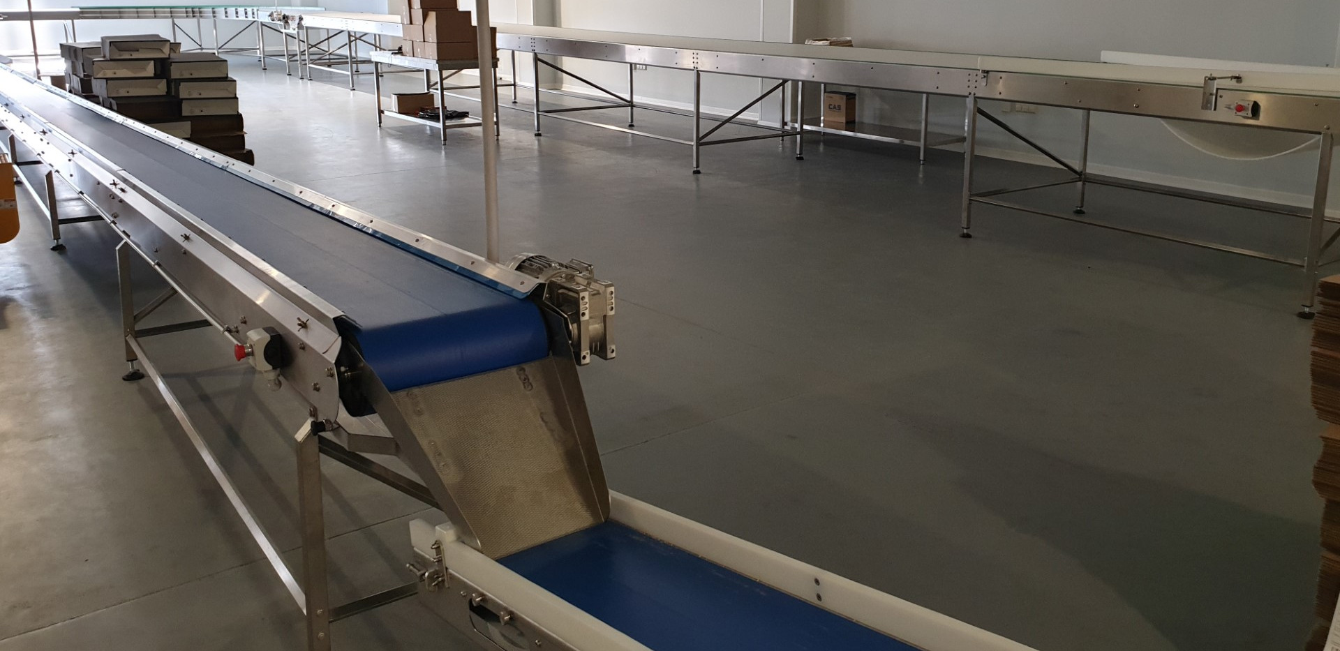 discharge conveyor into packaging