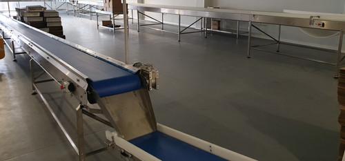discharge conveyor into packaging