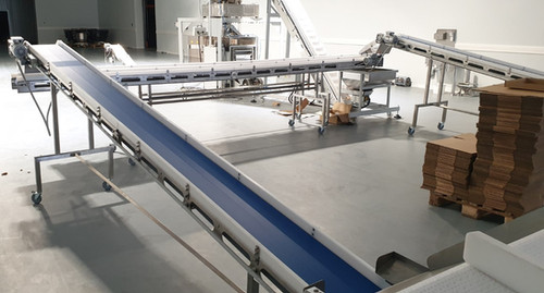 Transfer of product from two production lines to two packaging lines