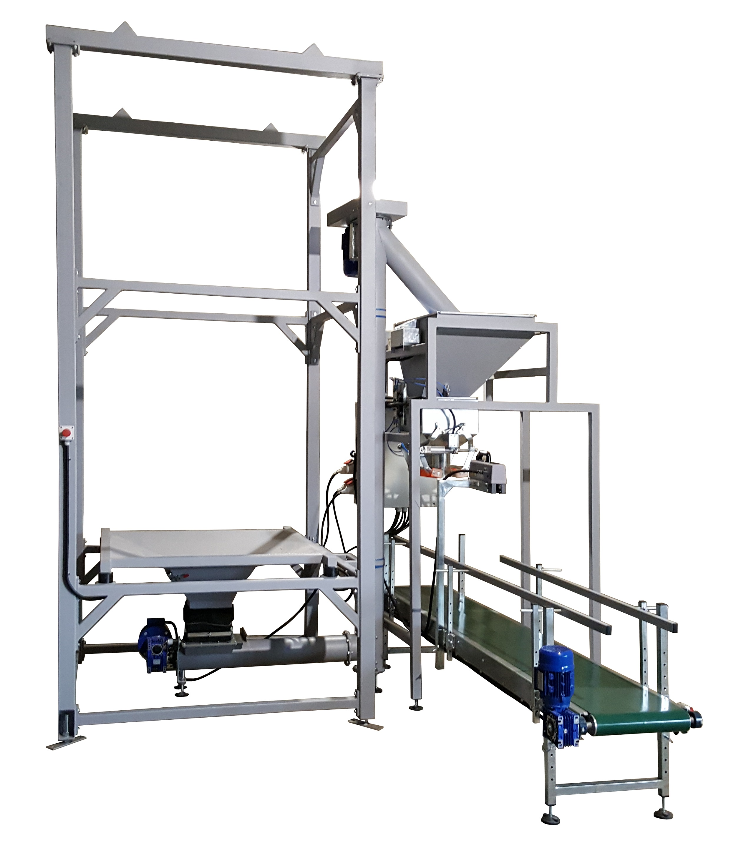 bulk product filling into bags line