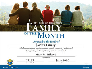 Sodan Family Named Family of the Month for May 2020