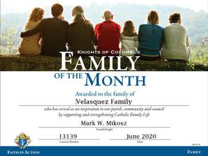 Velasquez Family Named Family of the Month for June 2020
