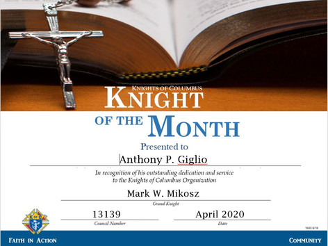 Anthony P. Giglio Named Knight of the Month for May 2020