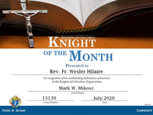Rev. Fr. Wesler Hilaire Named Knight of the Month for July 2020