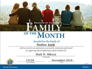 Nadine Janik Named Family of the Month for November