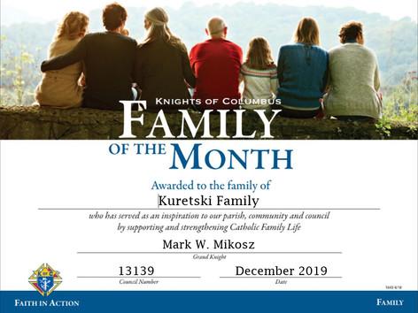 Jim & Terri Kuretski Named Family of the Month for December