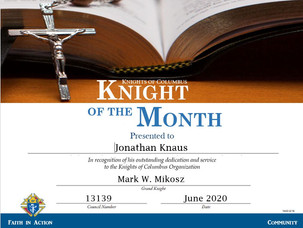 Jonathan Knaus Named Knight of the Month for June 2020