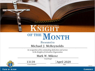 Michael McReynolds Named Knight of the Month for April 2020