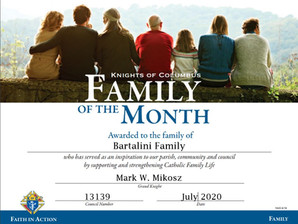 Bartalini Family Named Family of the Month for July 2020