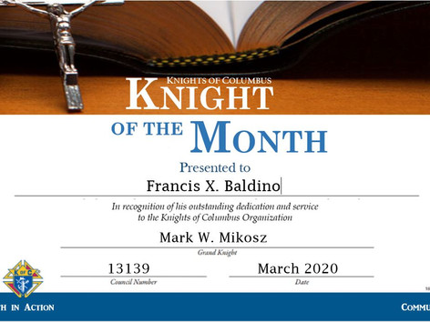 Frank Baldino Named Knight of the Month for March