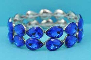 Sapphire/Silver Two Pear Shape Row Stretch Bracelet