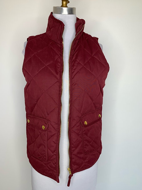 Burgundy quilted vest -size small