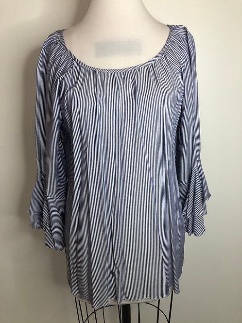 Blue and White Stripe Shirt Medium