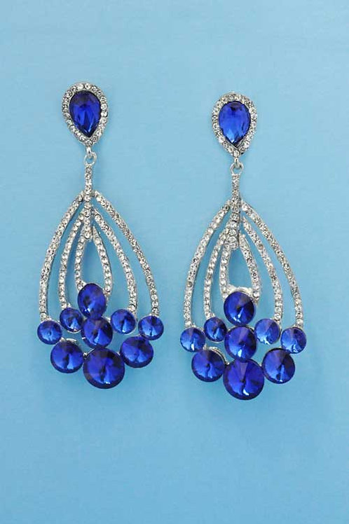"Sapphire/Clear Silver Grape Branch Shape 2.5"" Post Earring"