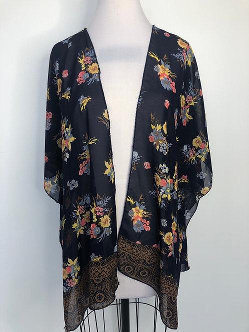 Navy Floral Kimono XL