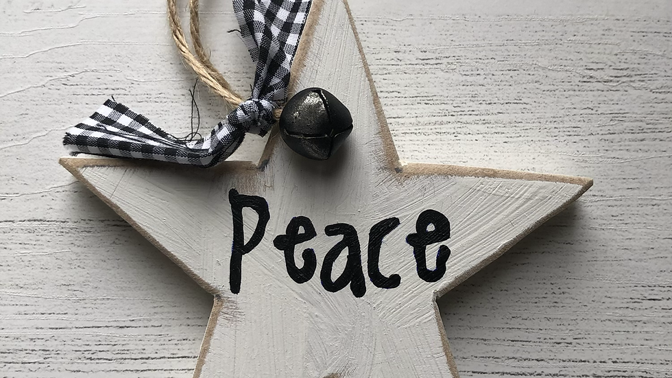 'Peace' Hand Painted Wooden Star