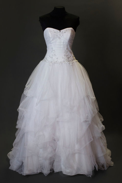 White Tulle Wedding Gown - Size 0