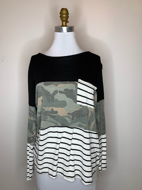 Camo Striped top - Size medium