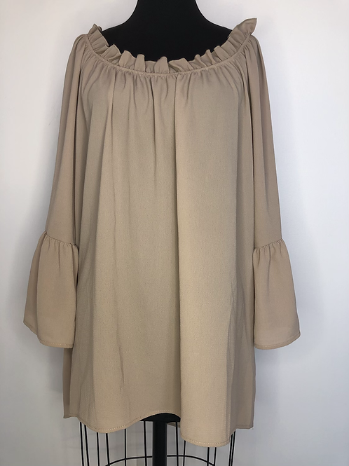 Taupe Blouse with Ruffled Sleeve