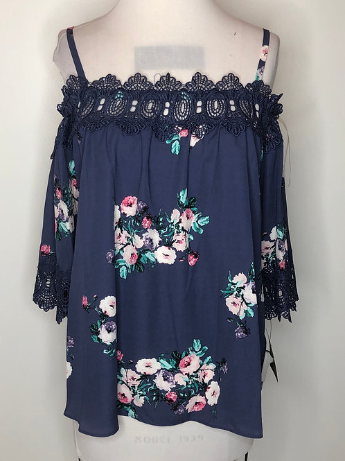 New! Blue Floral Shirt Large