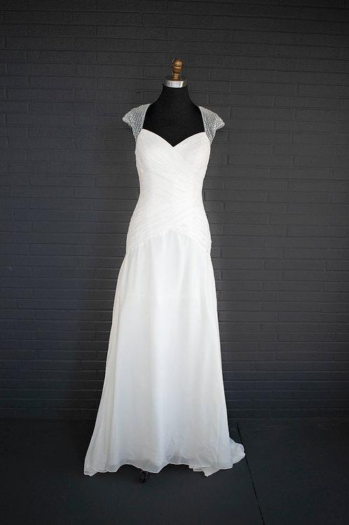 White Chiffon Wedding Gown - Size 6