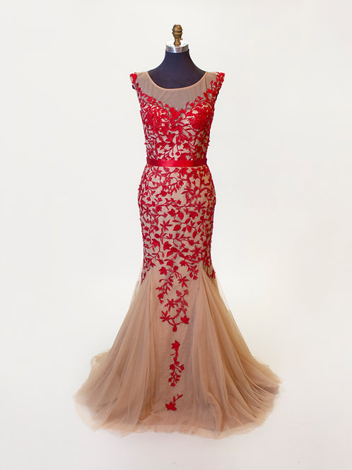 Sherri Hill Red Lace - Size 8