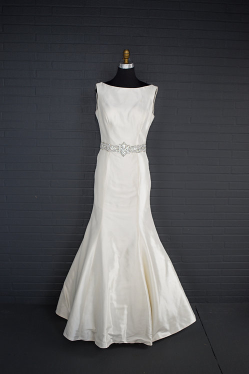 Ivory Satin Wedding Gown - Size 14