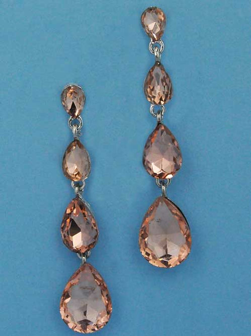 "Light Peach/Silver Four Linked Pearshape 2.5"" Post Earring"