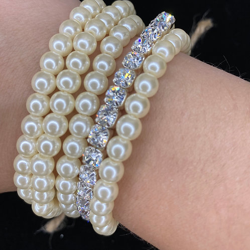 Pearl Bracelets with on strand Stones