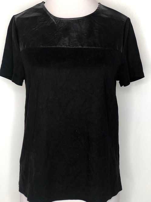 Suede & Leather Look Black Shirt Small