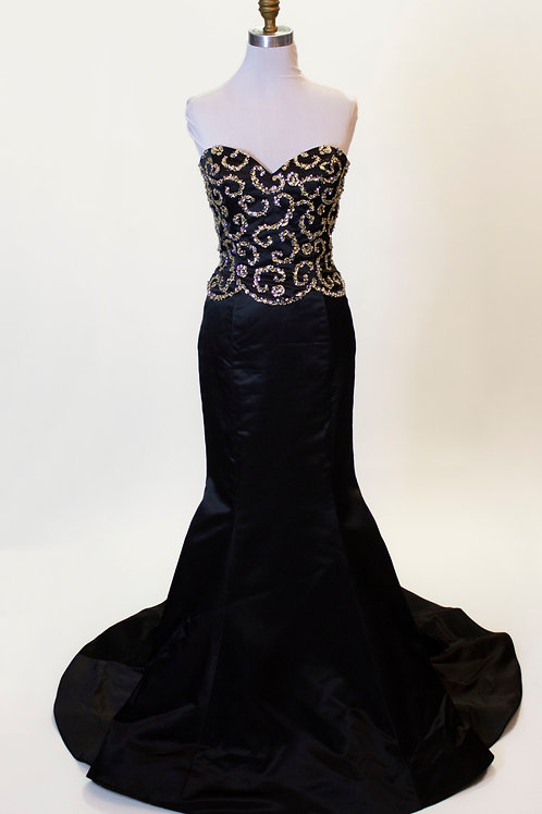Sherri Hill Black Sequin Top - Size 8