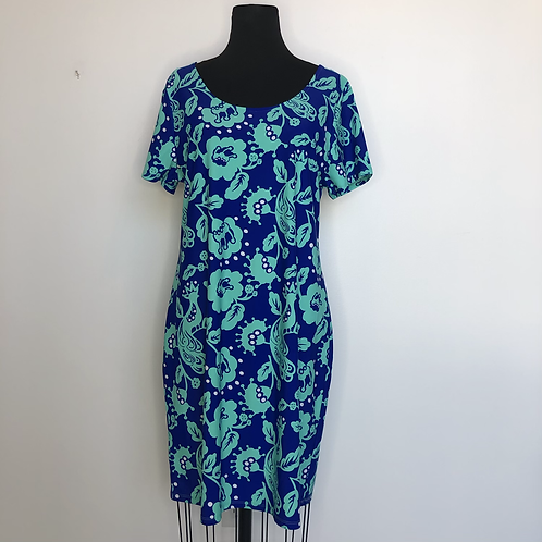 NEW! Blue Floral Print Dress XL