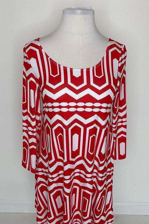 Red print dress size 16