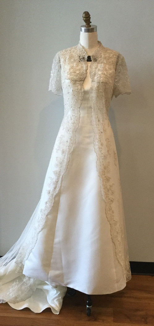 Ivory with Lace Jacket Wedding Gown - Size 14W