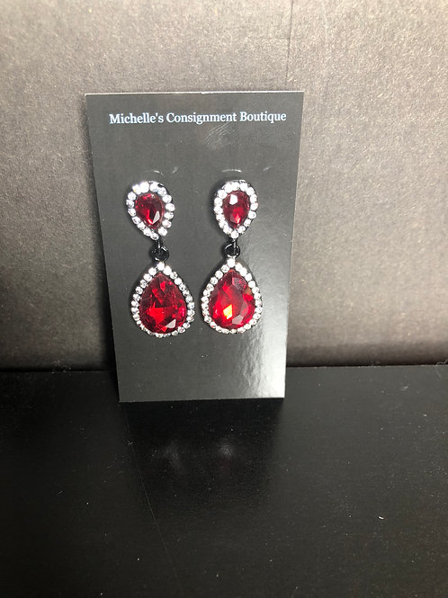 Red and Clear Earrings