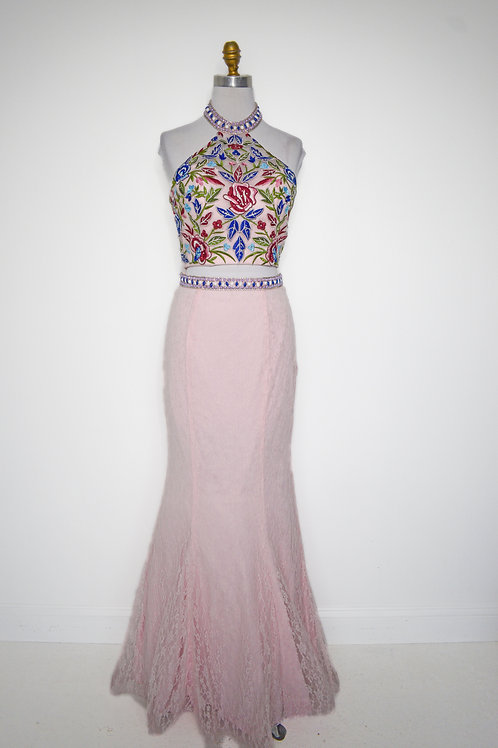 Pink Floral Two Piece - Size 8