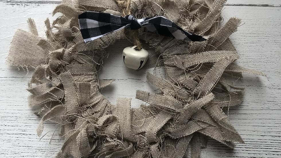 Mini Rag Wreath in Natural Jute